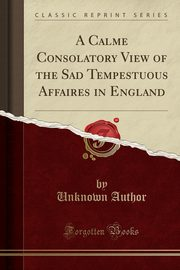 A Calme Consolatory View of the Sad Tempestuous Affaires in England (Classic Reprint), Author Unknown